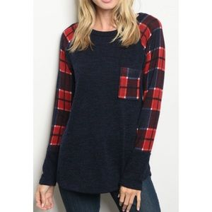 Tops - Just In! Red and Navy Plaid Top